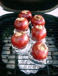 Grilled apples with peanut butter.