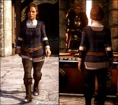 gilsa-childofstone:   Dwarf Female Gambeson - Skyhold Pajamas Retexture (and source files) Not gonna lie – the tunic was originally inspired by Blackwall's gambeson, combined with elements of the dwarven culture. The pants and boots are of Carta design. The geometric shapes and patterns on bracers are derived from the House Cadash tarot card. And of course, the chainmail is just standard protocol – most dwarf nobles incorporate chainmail even into formal gowns, because slights and insults…