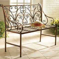 Our classy yet classical garden bench showcases ornate scrolling patterns throughout the supportive backrest with lovely scrolled armrests alongside.  Four feet in length and finished in a beautiful a...