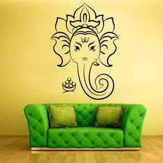 Ganesha Ganesh Lord of Success Indian Vinyl Wall Sticker Removable Decal Wall paper Home Decor home Decoration $12.98