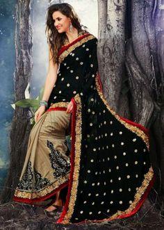Adorable Black And Cream Color Georgette Designer Saree. Sale : $59.00