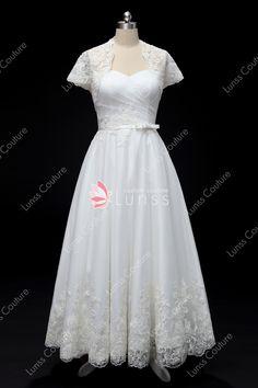 baefabd4b7 Ivory Sweetheart Lace Tulle Bowknot Waistband Tea Length Wedding Dress with  Bolero