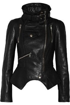 Alexander McQueen | Textured-leather biker jacket #alexandermcqueen #biker #jacket