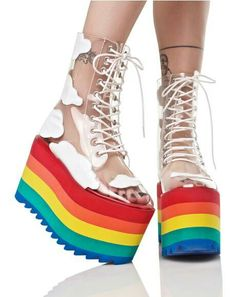 Rainbow laced shoes