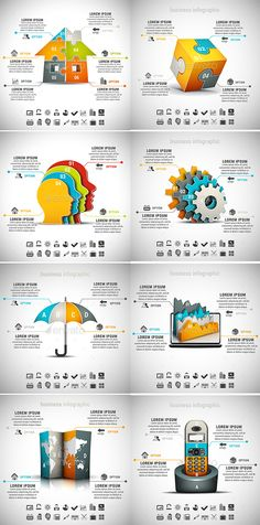 8 in 1 Infographics Bundle by grki Vector set of different infographics. 22 icons inside each file. ZIP includes free font link, AI, PSD and high resolution J Powerpoint Free, Powerpoint Design Templates, Presentation Templates, Ppt Template, Presentation Design, Creative Infographic, Infographics Design, Magazine Layout Design, Ppt Design