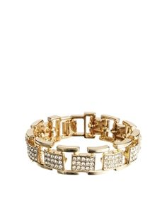River Island Gold Encrusted Box Chain Bracelet