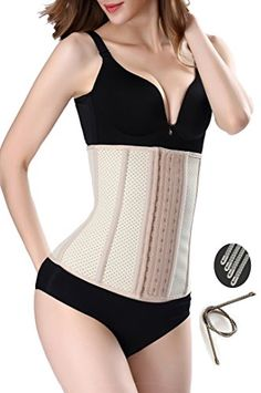 25fd231e7b Gepoetry Women Latex Mesh Waist Trainer Workout Waist Corset with 9 Steel  Boned Shapewear Gepoetry women s