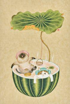 Korean Art, Asian Art, Art And Illustration, Artsy Bilder, Coaster Art, Kitten Cartoon, Korean Painting, Cat Drawing, Chinese Art