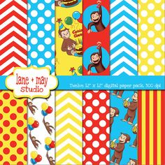curious george themed digital scrapbook papers by lane + may, $7.00
