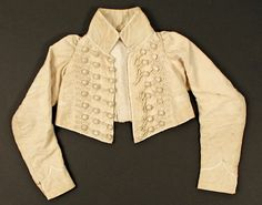 Jacket   Date: 1805–15  Culture: French  Medium: cotton, silk, linen  Dimensions: Length at CB: 9 in. (22.9 cm)  Credit Line: Purchase, Judith and Gerson Leiber Fund, 1991  Accession Number: 1991.330
