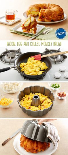 Bacon, Egg and Cheese Monkey Bread -- This recipe has all the savory, hearty, beautiful everything breakfast bake you can possibly want. It's great for brunch when you are serving a crowd and a fun one for Easter too. It's the perfect finger-food that adults and kids alike will gobble up.
