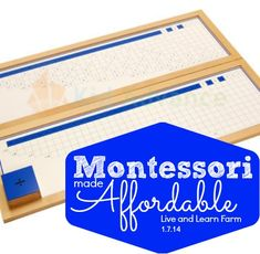 Montessori Made Affordable Division Materials with lessons and videos to learn how to present this material.   Live and Learn Farm