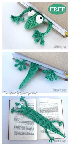 This adorable crochet gecko bookmark is the perfect little gift for any book lover. This funky Gecko Bookmark FREE Crochet Pattern is fast and fun to make. Crochet Bookmark Pattern, Crochet Bookmarks, Crochet Patterns, Crochet Ideas, Crochet Beanie, Crochet Yarn, Free Crochet, Irish Crochet, Crochet For Beginners