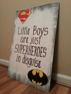 FREE SHIPPING U.S.** Superhero Sign / Little Boys Are Just Superheroes In Disguise / Superman Batman / Weathered / boys room