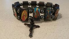 HEMATITE STONE ALL SAINTS RELIGIOUS PRAYER BRACELET BLACK/GREY STRETCH MAGNETIC #Handmade #MagneticSaintsRosary