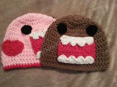 Domo Kun and Pink Domo Love Beanie Hats Crochet Pattern : cRAfterChick - Free Crochet Patterns and Projects