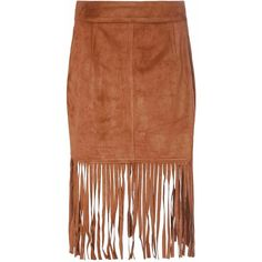 Tan Suedette Skirt With Fringing (45 CAD) ❤ liked on Polyvore featuring skirts, brown, tan pencil skirt, long fringe skirt, long brown skirt, knee length pencil skirt and fringe pencil skirt