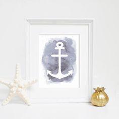 Gray Anchor Print, Gray Watercolor, Anchor Art, Anchor Print, Nautical Wall Prints, Print for Kids Room, Nautical Decor, Digital Wall Print