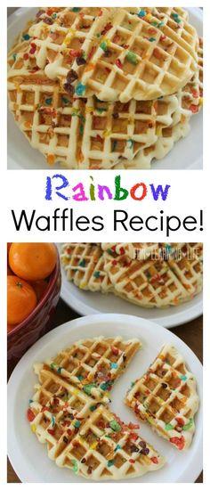 Rainbow Waffles Recipe! Easy Breakfast For Kids!