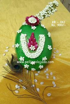 Latest Kobbari Bondam designs with pricing Coconut Decoration, Bridal Hair Flowers, Flower Garlands, Wedding Crafts, Bridal Accessories, Artificial Flowers, Christmas Bulbs, Floral Design, Diy Crafts