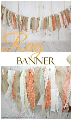 This Rustic Rag Banner is a simple and inexpensive decoration that is the perfect addition to a rustic bridal shower, baby shower, or baby/child's room. Hi all, it's been another month and we're he. Otoño Baby Shower, Shower Bebe, Diy Shower, Baby Shower Banners, Rag Banner, Fall Burlap Banner, Fall Bunting, Burlap Lace, Fall Crafts