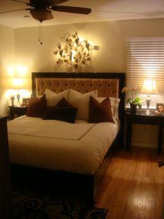 simple master bedroom, seperate closet/bathroom.