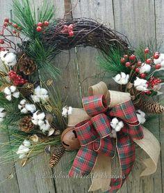 Rustic Christmas Cotton Wreath
