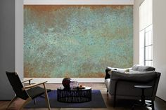 Tapeten im Wohnzimmer; Architects Paper Fototapete «Oxidierte Metallwand» (XL) 472779
