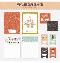 Set of cards notes and stickers with cute vector graphic design pack - by lana_vasiukova on VectorStock®
