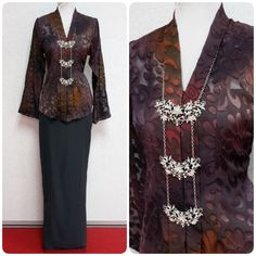 """Kebaya Zona III, available in S size, best for bust 34"""". Sheer, with slits on both sleeves. Only RM185. International shipping provided."""