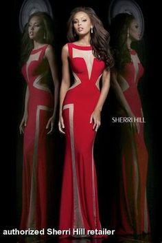 Prom dress by Sherri Hill 4313. Stretch jersey sexy dress has sheer nude illusion cutouts in a geometric pattern. $398 @Sherri Levek Levek Hill #sherrihill #prom2014 #promdresses prom dresses prom dress  FaceBook Pinterest
