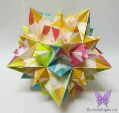 Signum Ametrine Kusudama. 60 Papers. Made by Sarah. Extreme Origami.