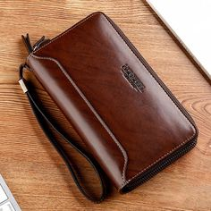Vintage PU Leather Double Zipper Clutch Bag Long Wallet For Men Shopping Online - NewChic Mobile Leather Wallet, Leather Bag, Phone Card, Papua New Guinea, Long Wallet, Bag Sale, St Kitts And Nevis, Clutch Bag, Zip Around Wallet