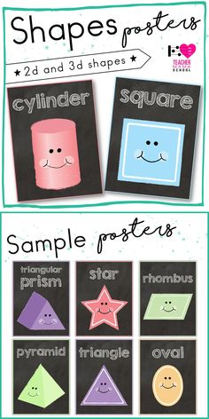 A set of 2d and 3d posters in a chalkboard theme. #shapes #posters #chalkboard