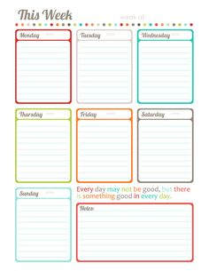 "make my to do lists and then add to PL - Free Printable ""This Week"" one page calendar, planner by Erin Rippy"
