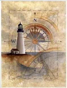 """lighthouse with the faded compass. bold the E and W because """"He knows just how far the east is from the west"""""""