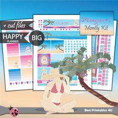 August BIG Happy Planner Kit, Big Happy Planner Stickers, Pritnable Big Happy Planner Kit, August 2017 Stickers, cutfiles HPB-03 by BestPrintables4U on Etsy