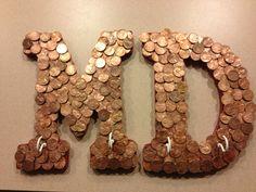 Penny Art : key rack or cute couple's initials as wall art