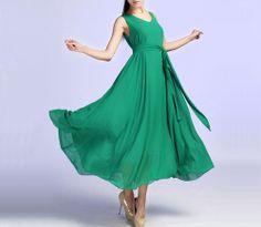 Green dress chiffon dress maxi dress 621 by xiaolizi on Etsy, $66.00