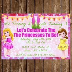 Disney Princess Birthday Invitation Download For Two - Pick Any Two Princesses by jzoet on Etsy