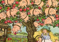 A Treeful of Pigs - Written by Arnold Lobel / illustrated by Anita Lobel Pig Illustration, Illustration Styles, Arnold Lobel, Pig Pig, Pig Drawing, Communication Art, Cute Pigs, Children's Picture Books, Book Illustrations