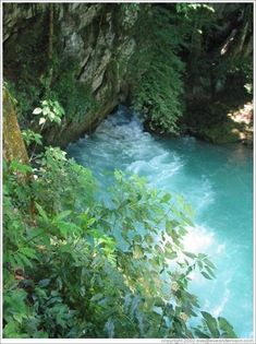 Semuc Champey, Coban, Guatemala...beautiful turquoise waters exiting Lanquin caves.