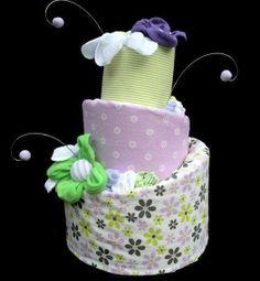 How To Make A Baby Shower Diaper Cake   Baby Girl Topsy Turvy Diaper Cake- Purple & Green Garden on Wanelo