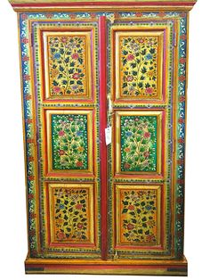 indian jaipur Armoire-Hand-Painted Floral Cabinet  by MOGULGALLERY