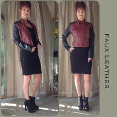 NWT FAUX LEATHER JACKET IN BRICK RED & BLACK NWT black & brick red faux leather jacket with a fitted design. Old gold hardware on the front zippers & pockets add a bit of a vintage feel. Quilted stitching effect at the shoulders. Fully lined & a great piece to add fit layering in the fall!  The buckle at the neck is for style & not function!  Really fun & funky piece! Rue 21 Jackets & Coats