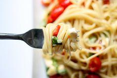 Brie, tomato pasta dish