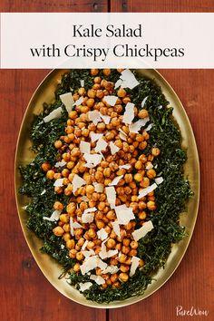 Kale Salad with Crispy Chickpeas via @PureWow