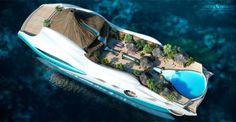 デザイン会社「ヨット・アイランド・デザイン」がカリブ海やインド洋、ポリネシアの島をイメージして考案した「トロピカル・アイランド・パラダイス」は、全長90メートル、10人乗りの大型ヨット。デッキには火山や入り江のビーチが再現され、滝から落ちる水が大きなプールに流れ込む  写真:YACHT ISLAND DESIGN