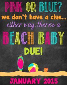 Beach Baby Pregnancy Announcement Pregnancy by ChalkingItUpBoards