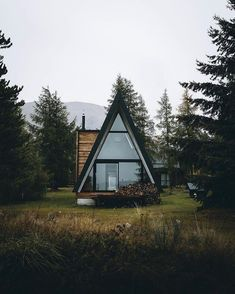 via heavywait - modern design architecture interior design home decor & A Frame Cabin, A Frame House, Tiny House Movement, Natur House, Cabin In The Woods, Cozy Cabin, Cabin Homes, House And Home Magazine, Interior And Exterior